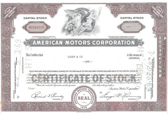 Certificaat voor 1 aandeel American Motors Corporation.