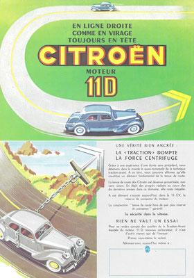 Een advertentie voor de Citroën Traction-Avant 11 D.