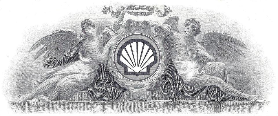 Vignet op een certificaat Shell Oil Company.