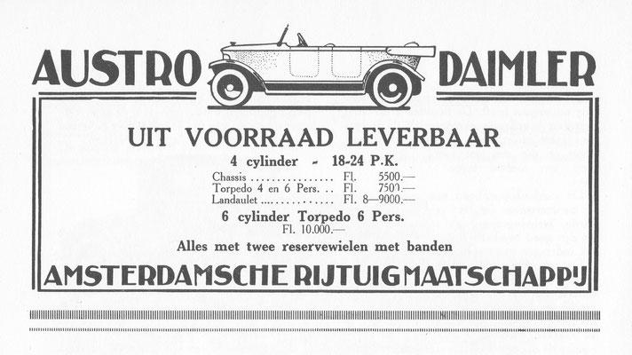 Reklame voor Austro Daimler.