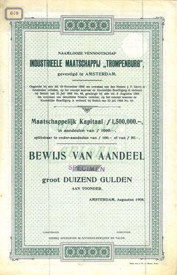 """Aandeel N.V. Industriëele Maatschappij """"Trompenburg"""" uit 1908, specimen."""