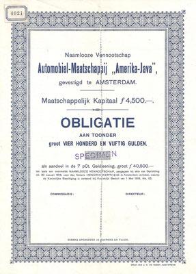 """Een obligatie Automobiel-Maatschappij """"Amerika-Java"""" uit 1916 (specimen)."""