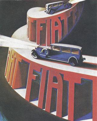 Een affiche uit 1928 van C. Riccobaldi voor Fiat.