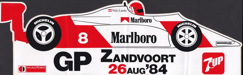 Sticker Grand Prix Formule 1 Zandvoort 1984.