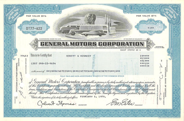 19 Aandelen General Motors Corporation uit 1975.