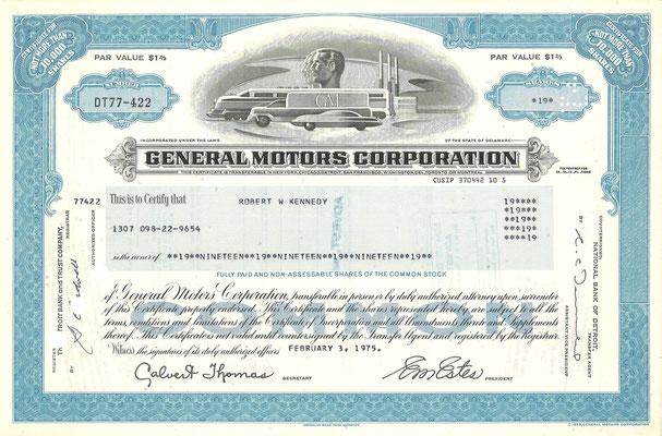 Certificaat voor 19 aandelen General Motors Corporation uit 1975.
