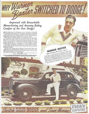 Advertentie Dodge met filmster Warner Baxter.