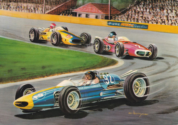Jim Clark met Lotus-Ford wint in 1963 de race op de Milwaukee-oval.