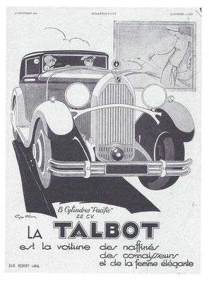 Een Franse advertentie uit 1930 van Geo Ham voor Talbot.
