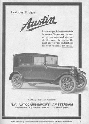 Een Nederlandse advertentie voor Austin uit 1926.
