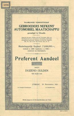 Preferent Aandeel N.V. Gebroeders Nefkens' Automobiel Maatschappij uit 1921 (blanket).