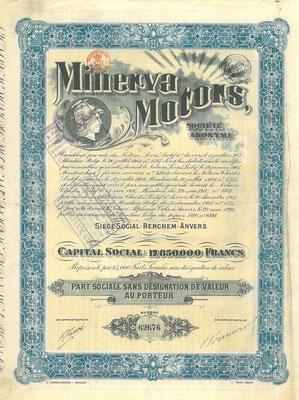 Aandeel Minerva Motors S.A. uit 1920.