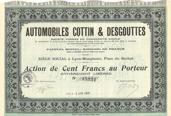 Aandeel Automobiles Cottin & Desgouttes uit 1920.