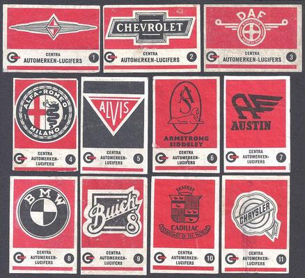 Centra lucifers, automerken, 1957, 1-11.