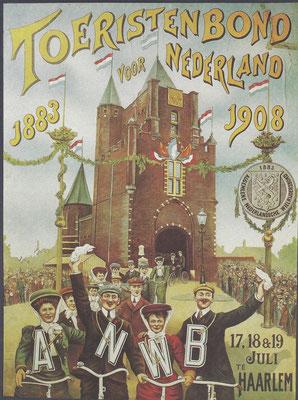 Affiche van de A.N.W.B. uit 1908 over het 25-jarig jubileum.
