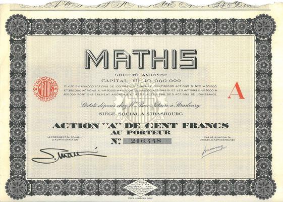 Een aandeel Mathis S.A. uit 1929.