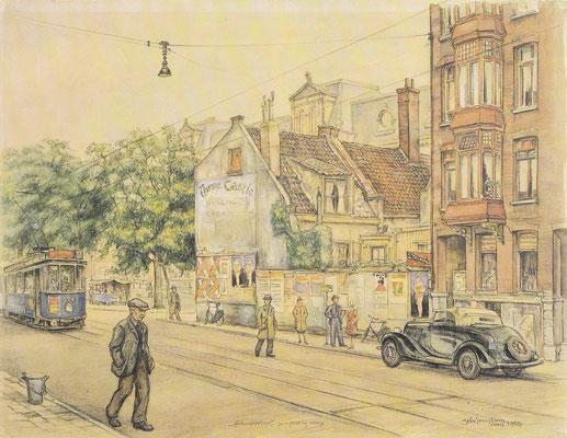 Amsterdam, Marnixstraat, 1939, kunstwerk van Henk IJkelenstam.