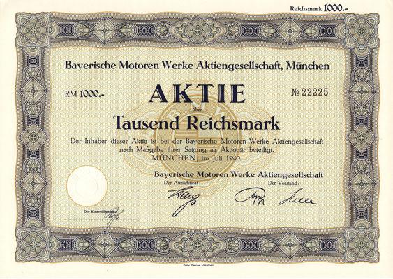Aandeel (Aktie) 1000 RM Bayerische Motoren Werke A.G. München uit 1940.