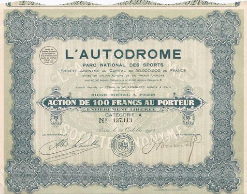 Aandeel L' Autodrome uit 1924.
