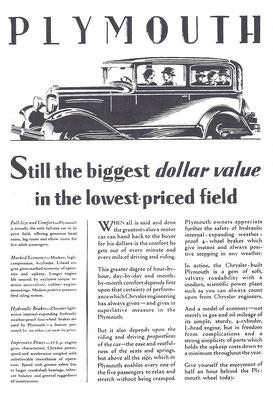 Een advertentie voor Plymouth uit 1929.