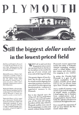 Advertentie Plymouth uit 1929.