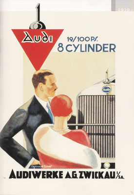 Affiche van Offelsmeyer uit 1927 voor de eerste Audi achtcilinder.