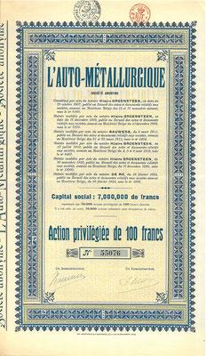 Aandeel L'Auto Métallurgique uit 1924. Kapitaal 7.000.000 Francs.