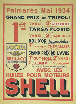 Een advertentie van Shell met race-successen in 1934.