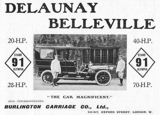 Advertentie voor Delaunay Belleville in het blad Country Life uit 1906.