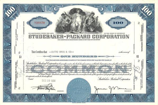 Certificaat voor 100 aandelen Studebaker-Packard Corporation uit 1954.