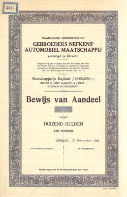 Een Bewijs van Aandeel N.V. Gebroeders Nefkens' Automobiel Maatschappij uit 1921 (blanket).