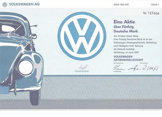 Aandeel (Aktie) DM 50 Volkswagen A.G. Wolfsburg uit 1991.