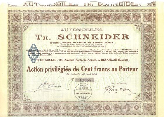 Een aandeel Automobiles Th. Schneider S.A. uit 1924.
