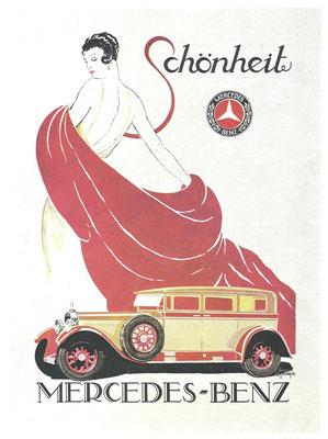 Een affiche voor de Mercedes-Benz Nürburg uit 1929.