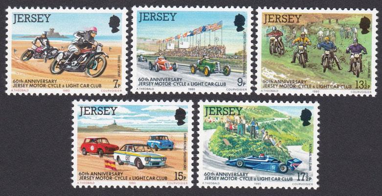 Postzegels Jersey 1980. 60th Anniversary Jersey motor-cycle & light car club.