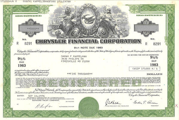 Obligatie Chrysler Financial Corporation, 5.000 dollars uit 1976. Diverse obligaties te koop, prijs € 8,00 email: info@automobielhistorie.com