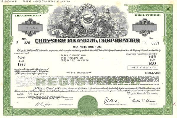 Obligatie Chrysler Financial Corporation, 5.000 dollars uit 1976. Diverse obligaties te koop, prijs € 8,00 email: info@automobielhistorie.com