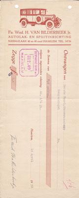 """Kwitantie """"autolak- en spuitinrichting"""" uit 1938."""