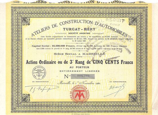 Een gewoon aandeel Ateliers de Construction d'Automobilles Turcat-Méry S.A. uit 1921.
