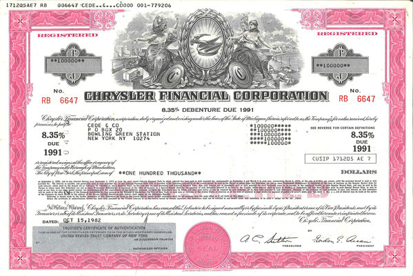 Obligatie Chrysler Financial Corporation, 100.000 dollars uit 1982.