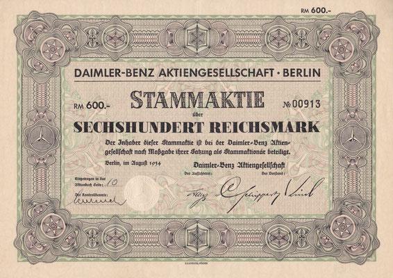 Aandeel (Stammaktie) 600 RM Daimler-Benz A.G. Berlin uit 1934.