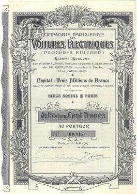 Aandeel Compagnie Parisienne des Voitures Électriques (Procédés Krieger) S.A. uit 1907.