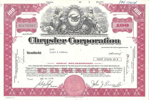 Certificaat voor 100 aandelen Chrysler Corporation uit 1976.