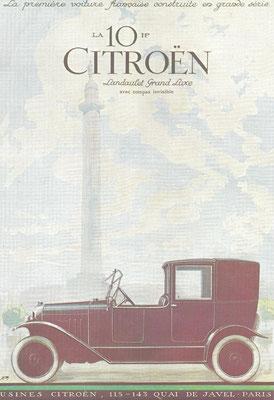 Een advertentie van Citroën voor de 10 HP Landaulet Grand Luxe.