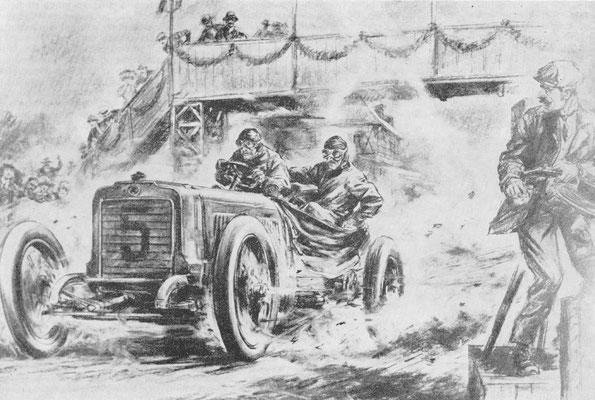 De Fransman Théry met een zware Richard Brasier gaat hier als winnaar over de finish onder de brug door in de Gordon Bennett wedstrijd van 1904 op een circuit in de Taunus nabij Frankfurt.