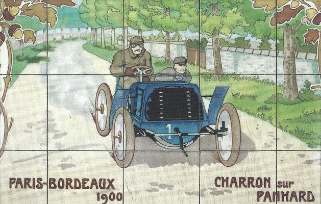 Charron met een Panhard tijdens de wedstrijd Parijs-Bordeaux in 1900.