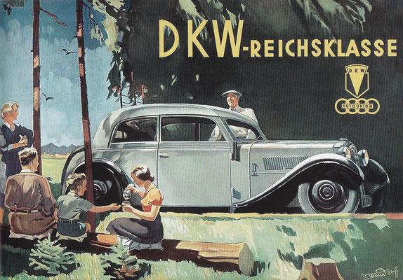 Affiche van Victor Mundorff uit 1936 voor de DKW F5 Reichsklasse cabrio-limousine.
