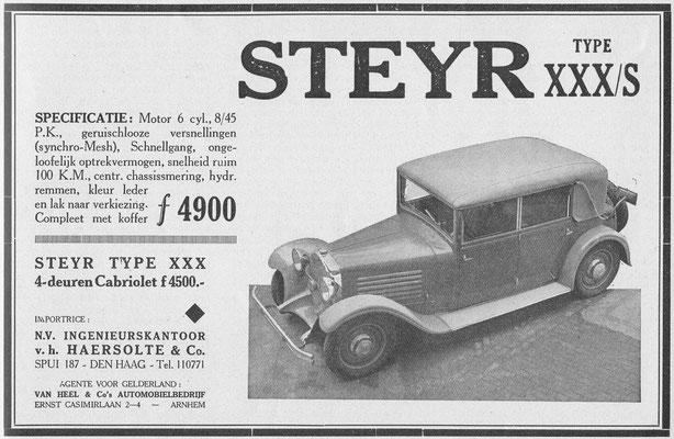 Advertentie Steyr, 1932