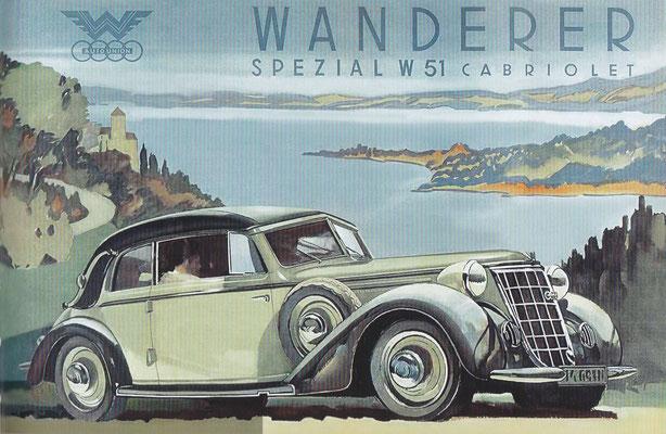 Affiche van Victor Mundorff uit 1936 voor de Wanderer  W 51.