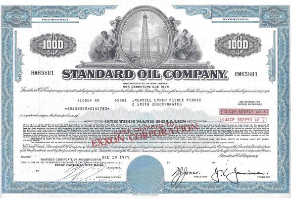 Obligatie $ 1.000 Standard Oil Company uit 1979.